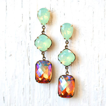 Mint Green Opal Peach Rainbow Earrings Swarovski Crystal Opal Rainbow Checkerboard Rhinestone Earrings Fiesta