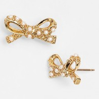 kate spade new york 'skinny mini' faux pearl bow stud earrings