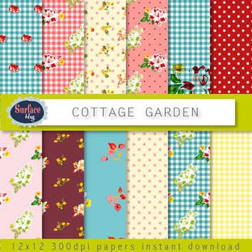 Floral Digital paper COTTAGE GARDEN Shabby chic paper, Gingham, roses, Floral paper, Cottage style for invites and Scrap book projects etc.