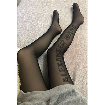 Alexander Wang Crystal Logo Black Tights