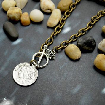 A-109 Antique coin necklace, Chunky necklace, Antique bronze necklace, Modern necklace/Bridesmaid/gifts/Everyday jewelry/