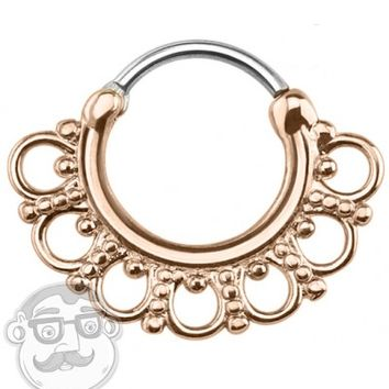 16G Rose Gold Plated Tribal Fan Septum Clicker