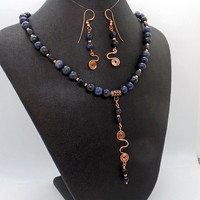 Sodalite Copper Swirl Necklace Earrings Set Natural Stone