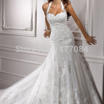 Country Lace Wedding Dresses Backless 2015 Halter Bridal Gowns With Train Custom Made