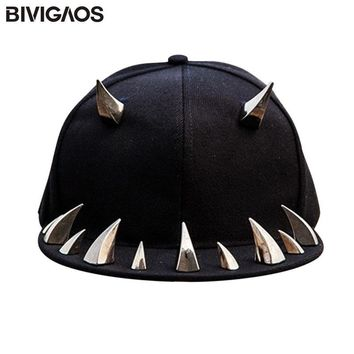 Trendy Winter Jacket New Fashion Mens Womens Swag Fangs Tusk Rivets Hip Hop Cap Punk Rock Style Baseball Caps Black Snapback Hats For Men Women Cap AT_92_12