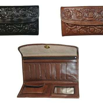 Texcyngoods Womens Wallet Tooled Leather Roses Clutch Billfold Made in Mexico
