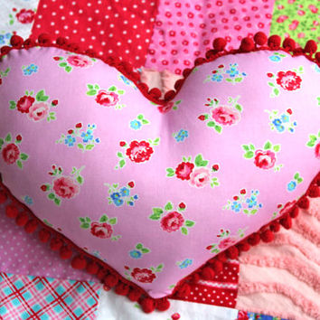 Heart Pillow Shabby Chic Pillow - Pam Kitty Fabric Rose Pillow  Heart Shaped Pillow - Valentines Pillow - Pom Pom Pillow - Shabby Chic Decor