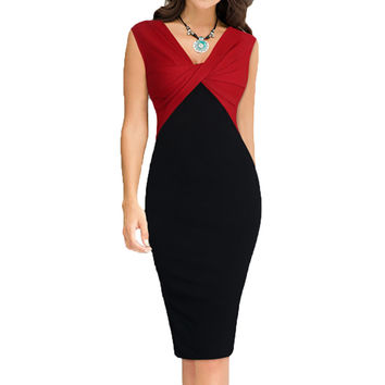 New Europe US Women Elegant Colorblock Draped Ruched Twist Sexy V Neck High Waisted Party Wear to Work Sheath Pencil Dress