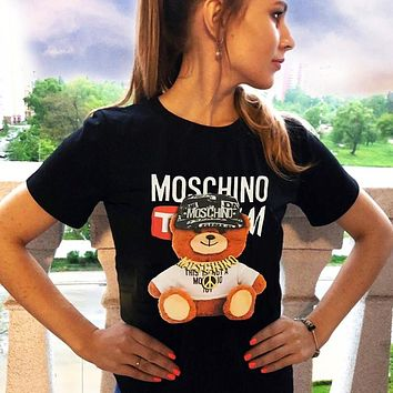 Moschino 2020 white gold chain bear men and women couples