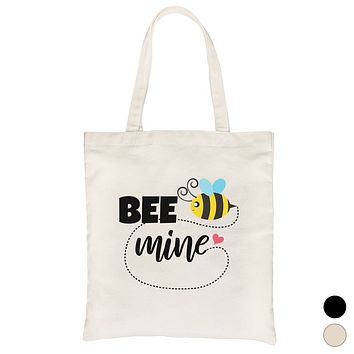 Bee Mine Canvas Shoulder Bag Cute Graphic Tote Bag Gift For Her