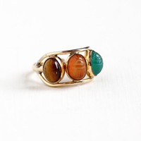 Vintage 12k Gold Filled Scarab Ring - Tiger's Eye, Carnelian, Green Chalcedony Carved Beetle Gem Egyptian Revival Adjustable Jewelry