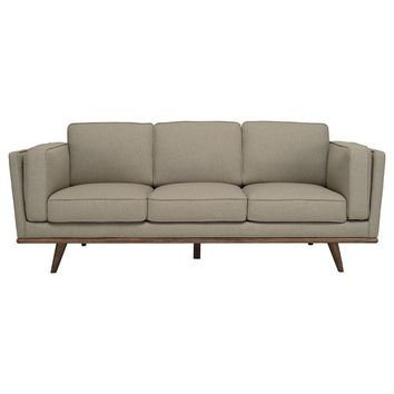"Modern Scandinavian Sandstone ""Civic"" 3 Seater Sofa with Slanted Oak Legs"