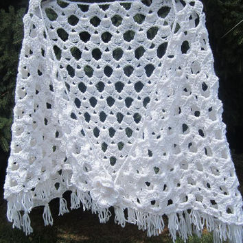 White Spring Shawl with Flower, Womens Lacy Summer Crochet Shawl