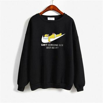 Cartoon JUST DO IT Letter Print Long Sleeved Cotton 2018 Fall Women Sweatshirt Plus Size Couple Tops Men Black Gothic Hoodies Y4