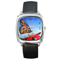 Autism Butterfly on Square Watch w/ Citizen Works and Leather Band