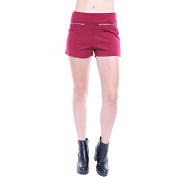 Contemporary Burgundy High-Waisted Shorts W/ Zipper Details P9722