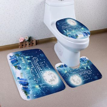 Home Christmas Toilet Foot Pad Seat Cover Radiator Cap Bathroom Sets drop shipping aug31
