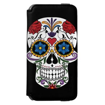 Colorful Sugar Skull Incipio iPhone 6 Wallet Case