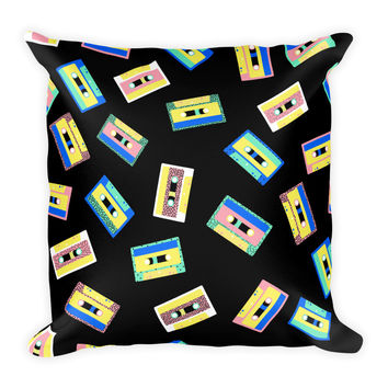 80's Retro Tapes Pillow
