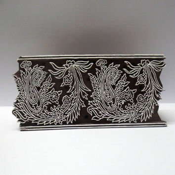 Indian wooden hand carved textile printing fabric block / stamp vintage fine art design pattern