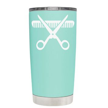 HairStylist Scissor and Comb Silhouette on Seafoam 20 oz Tumbler Cup
