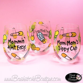 Hand Painted Wine Glass - Baby Things Sippy Cup - Original Designs by Cathy Kraemer