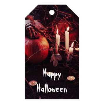Rustic Halloween Pumpkin and Candles Gift Tags
