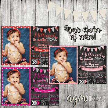 Minnie Mouse 1st First Birthday Invite Invitation with Photo and Bunting Banner