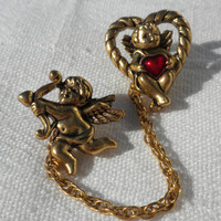 Valentines Pin Cupid Pin Heart Pin Valentines Brooch Heart Sweater Pin Cherub Pin Angel Pin Valentine's Day Gift Avon Jewelry Gift for Her
