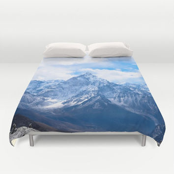 Duvet Cover, Mountain Peak Landscape Clouds Sky Bedding Cover, Decorative Nature Bedroom Decor, Home Decor, King, Queen, Full