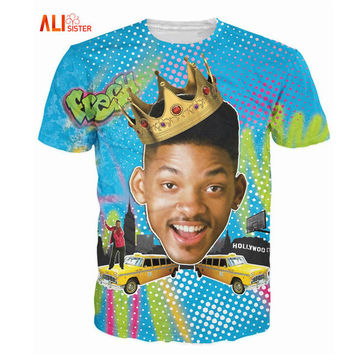 Alisister Summer Style So Fresh Will Smith T-Shirt Sexy Tee Fresh Prince Of Bel Air 3d T Shirt Basic Tshirt For Women Men Tops