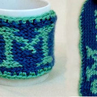 Coffee Mug Warmer Mom Cup Cozy Blue Green Knit Tea