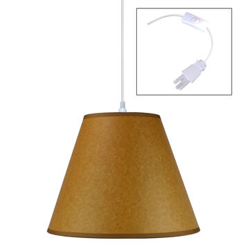 0-005216>Brown Parchment 1 Light Swag Plug-In Pendant Hanging Lamp