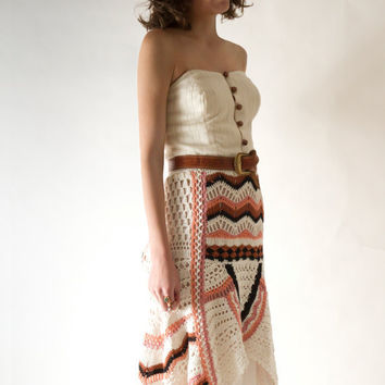 Items similar to Ethnic Bohemian Hand Crocheted Maxi Skirt, Hi-Low Hem, One-of-a-kind on Etsy, a global handmade and vintage marketplace.