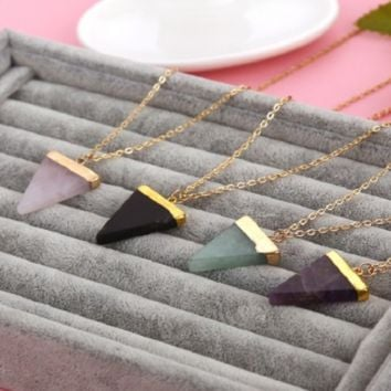 Geometric Triangle Gem Necklace