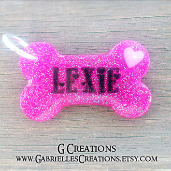 Hot Pink Glitter Bone Dog ID Tag - Heart Cute Handmade DogTag - Personalized Custom Pet ID Tag - Girly Resin Dog Collar Accessory Name Tag