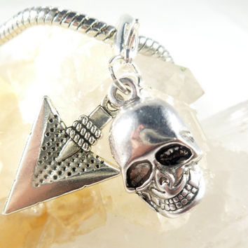 Silver Skull Charm Zipper Pull Charm, Arrow Charm Purse Pull, Zipper Charm Skull Gifts, Day of the Dead Silver Charms, Halloween Gifts