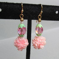 """My Secret Garden"" Artisan Lampwork Art Glass & Swarovski Crystal Sterling Silver Earrings, ""Golden Pink Carnations"" #155"