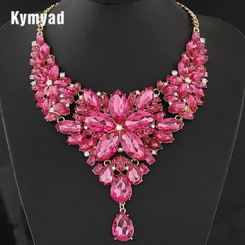 Kymyad Collier Femme Retro Statement Choker Necklace Gold Color Crystal Flower Necklaces & Pendants Maxi Necklace Women