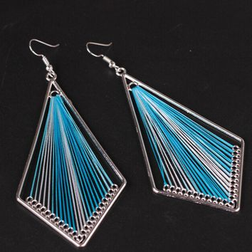 *Online Exclusive* Geometric String Art Dangle Earrings