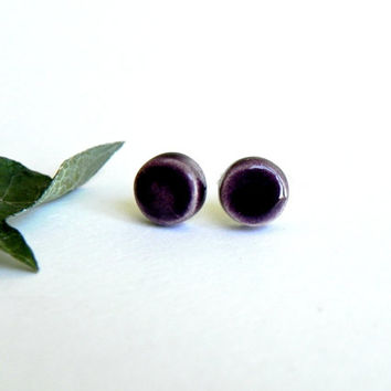 Purple Ceramic Geometric Earrings Stud Eggplant Round Pottery Unisex Fashion Jewelry
