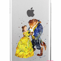 Beauty & The Beast Disney Clear Soft Watercolor iPhone Case 5,5s,SE,6,6S,6+,7,7+