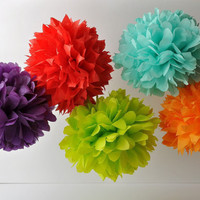 Tissue Pom Poms - Set of 5 - Pick Your Colors
