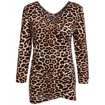 Low-Cut V-Neck Leopard Print Long Sleeves Alluring Women's Bodycon Dress