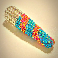 Bling glass pipe chillum one hitter with AB rhinestones and a band of Authentic Swarovski Elements