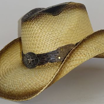 Straw Cowboy Hat LEATHER PISTOLERO by Austin, just one