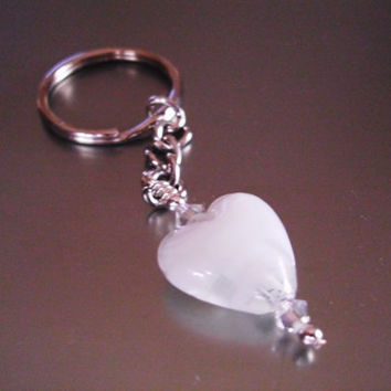 White Heart Key Ring