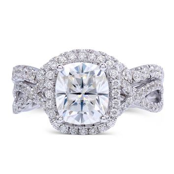 14K 585 White Gold 2 Carat ct FGH Color Cushion Cut Lab Grown Moissanite Diamond Engagement Ring Set with Accents for Women