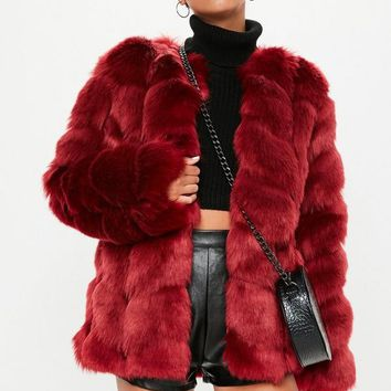 Missguided - Red Faux Fur Bubble Coat