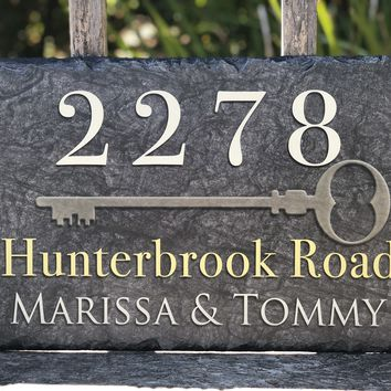 Customizable Slate Home Address House Sign - Key Plaque - Handmade and Personalized